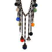 Art Deco Necklace Glass Bead Fringe - Vintage 1930s Dangle Multi-color