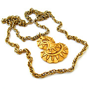 SOLD TRIFARI Pendant Necklace - Vintage 1960s Mod Gold-tone Double Chain