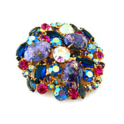 SOLD JULIANA Brooch Lilac Easter Egg - Vintage D&E Art Glass Rhinestone Pin - Book Piece