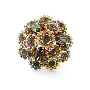 SOLD WARNER Brooch Rhinestone Dome - Vintage 1960s Black Diamond Aurora Borealis Pin