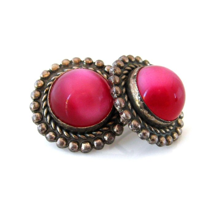 Vintage Moonglow Button Earrings - Pink Cabochon Silver-tone Screwback