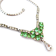 SOLD BOGOFF Green Rhinestone Necklace - Vintage 1950s Signed Flower Dangle Drop Choker