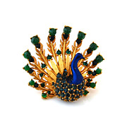 SOLD BOUCHER Peacock Brooch - Vintage 1960s Enamel, Glass, Rhinestone Bird Figural Brooch