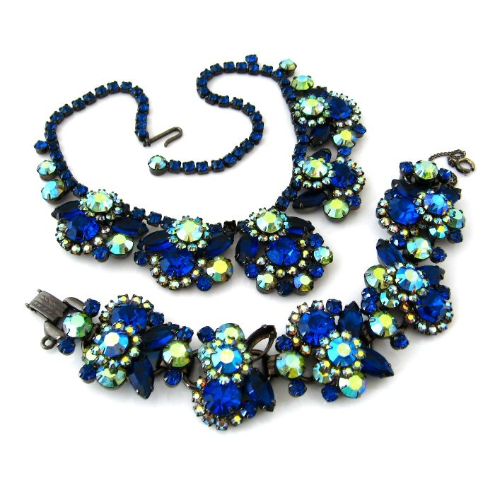 JULIANA Capri Blue Rhinestone Necklace Bracelet Set - Vintage D&E Chunky Demi Parure - Book Piece