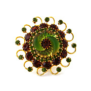 SOLD EDLEE Cornucopia Art Glass Rhinestone Brooch - Vintage 1950s Signed Molded Topaz Olivine 