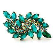 SOLD GORGEOUS Green Rhinestone Brooch - Vintage 1960s Unsigned Aurora Borealis Pin