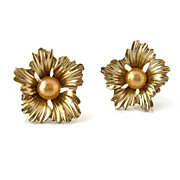 SOLD JOMAZ Faux Pearl Flower Earrings - Vintage 1950s Mazer Signed Clip On