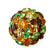 SOLD Vintage Rhinestone Dome Brooch - Unsigned 1960s Yellow Green Topaz Pin