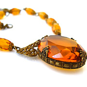 SOLD CZECHOSLOVAKIA Glass Necklace - Vintage 1930s Art Deco Signed Czech Rhinestone Filigree
