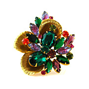 SOLD JULIANA Brooch Rhinestone Metal Petal Abstract Flower - Vintage D&E Art Glass Pin