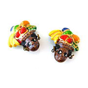 CARMEN MIRANDA Ceramic Earrings - Vintage 1940s Fruit Hat Face Clip On