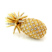CAROLEE Hawaiian Pineapple Rhinestone Brooch - Signed Tropical Fruit Figural Clear Pave Pin