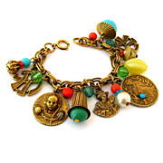 SOLD Signed GERMANY Asian Charm Bracelet - Vintage Geisha Man Symbols Bead Oriental