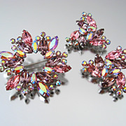 Signed WEISS Rhinestone Brooch Earrings Set - Vintage High End Pink Purple Demi Parure