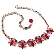 BOGOFF Red Pink Rhinestone Necklace - Vintage Signed 1950s Choker