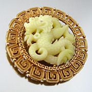 Hattie Carnegie Style ASIAN DRAGON Molded Plastic Figural Brooch - Vintage 1960s Unsigned Pin