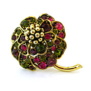 HOLLYCRAFT Rhinestones Flower Brooch - Vintage 1950s Pink Green Floral Figural Pin