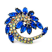 Vintage Blue Rhinestone Swirl Brooch - 1960s Aurora Borealis Unsigned Pin