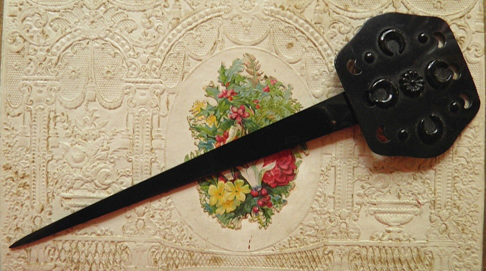 Unique Black Antique Victorian Swivel Celluloid Hairpin Hair Pin