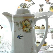 SALE Vintage Hand Painted Chocolate Pot With Bluebird and Flowers