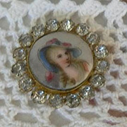 SALE Lovely Antique Victorian Porcelain Portrait Miniature of Lady Framed with Paste Brooch