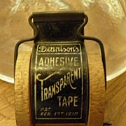SALE Antique Dennison�s Adhesive Transparent Tape Holder with Tape Grate Advertising Graphics