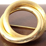 Classic Twin Circle Pin Brooch Solid 18K Gold