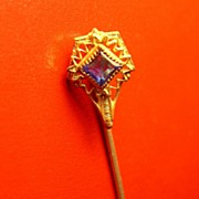 Edwardian Gold Wash Stickpin with Blue Glass Stone
