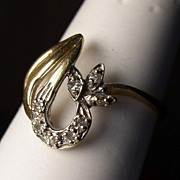Vintage 14K Gold Swirl Cocktail Ring Sz 6.75
