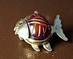 Cute Vintage Rockfish Blowfish Pin 12K Gold-Filled Red Stone RF