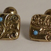 Gents Victorian Bean Turquoise Ornate Cufflinks Gold filled