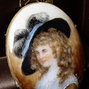 Gainsborough Girl Porcelain Portrait Miniature Brooch Signed
