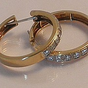 Incredible 18K Gold 2 Carat Huge Diamond Earring Hoops