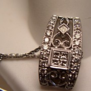Peter Lam Art Deco Style 18K White Gold 1ct Diamond Necklace
