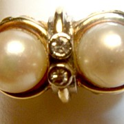 14K Art Deco Cultured Pearl European Diamond Ring 585