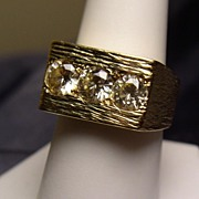 Incredible Gent's Ring! Solid 18K Gold with Diamonique Stones!