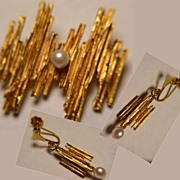 Gorgeous Art Deco Modernist Brooch Earring Set 18K Gold Pearls
