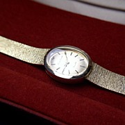 Vintage New Old Stock Lucien Piccard Solid 14K Gold Watch & Band