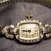 Vintage Solid Platinum Diamond Ladies Longines Watch