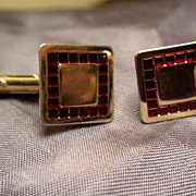 Vintage Swank Gold-Toned Square Cuff Links Garnet