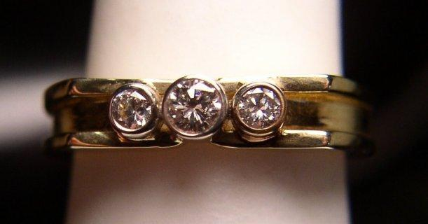 18K Yellow & White Gold Diamond Modernist Designer Band