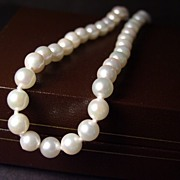 "Genuine Akoya Saltwater Cultured Pearl Necklace 18"" 14K Gold"