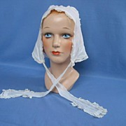 Antique Sheer Cotton Ladies Sleep Bonnet Circa 1900s