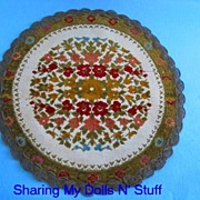 Early Belgium Needle Point Floral Doily   Circa 1920s