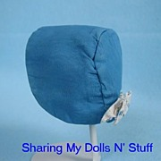 REDUCED Hand Made Blue Baby Bonnet  Circa 1940s