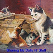 Early German Made Postcard  With Mother And Kittens Circa 1910