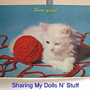 REDUCED Vintage Postcard Of White Kitten Circa 1960s