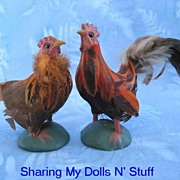 Vintage Set Of  Handmade Feathered Rooster And Hen Circa 1970s