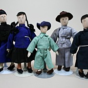 SALE Vintage Handmade Chinese Family Of Five Circa 1970s