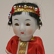 REDUCED Early Chinese Squeak Toy Doll With Original Box Circa 1920s